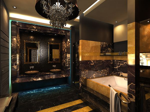 Wealth And Luxury Bathroom Black And Gold Bathroom