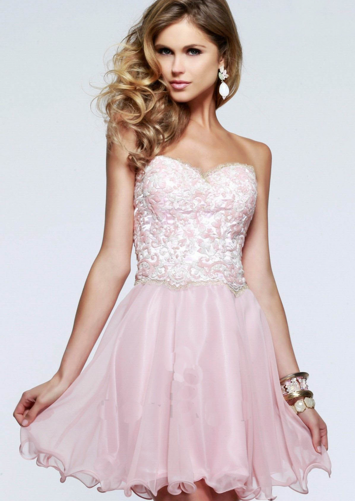 2015 Lace Up Ruched Sweetheart Appliques Chiffon Tulle Pink Short Cocktail  / Homecoming / Formal Dresses
