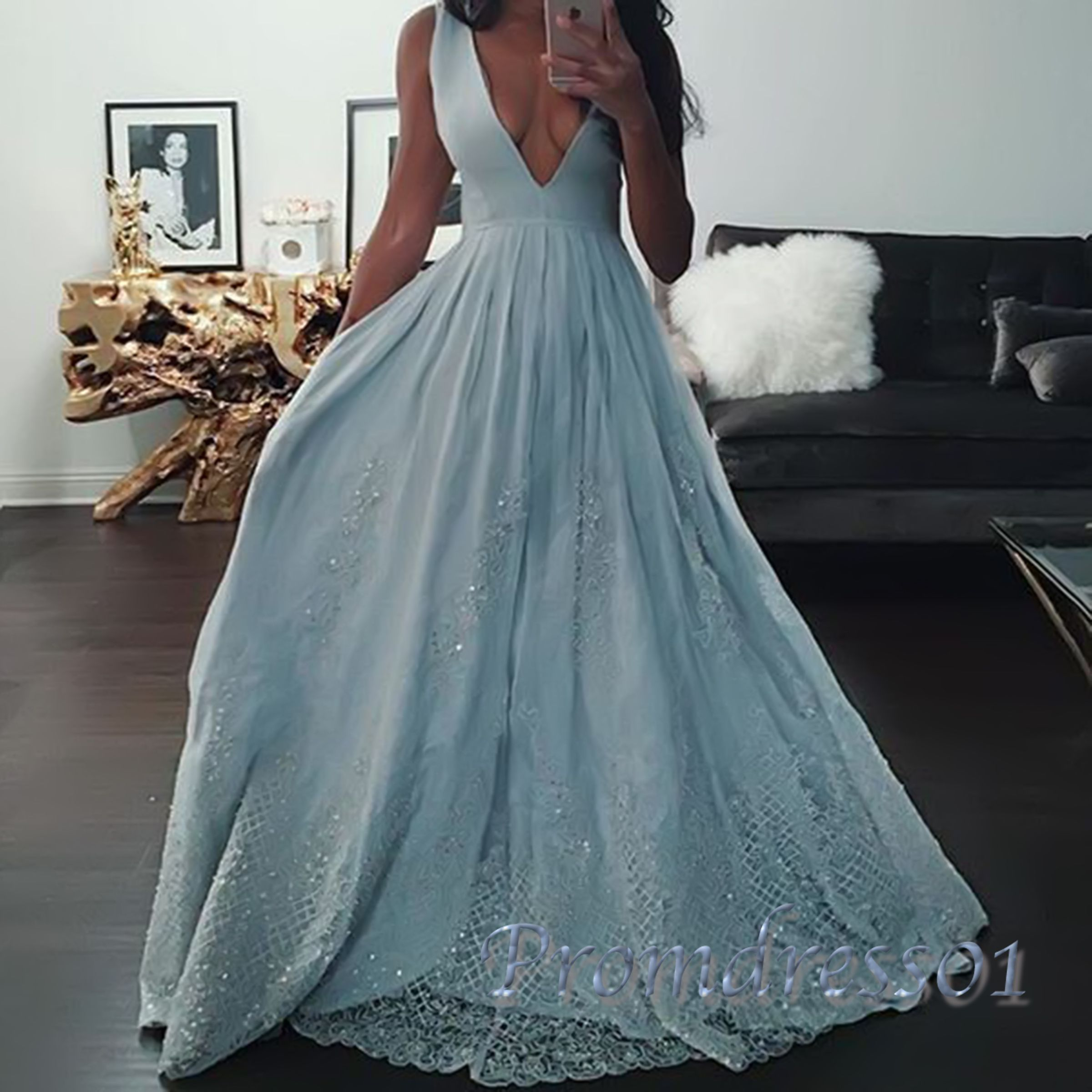 Beautiful blue lace sequins deep vneck long prom dress evening