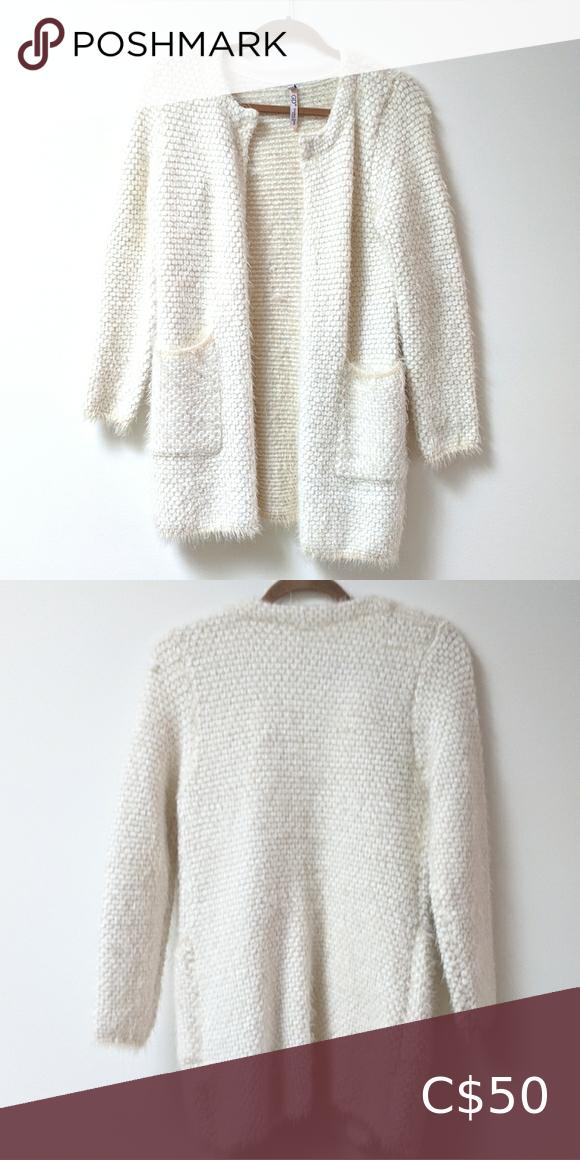 Fluffy cream cardigan
