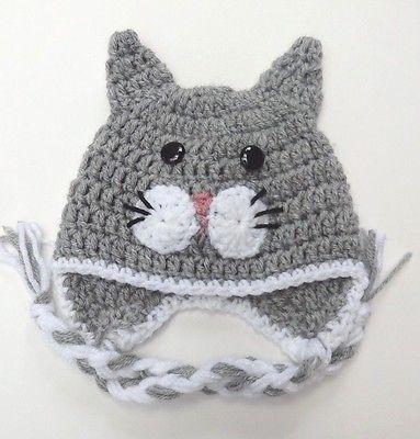 cff783c6246 CROCHET CAT KITTY EAR FLAP BABY HAT infant toddler adult beanie cap photo  prop preemie