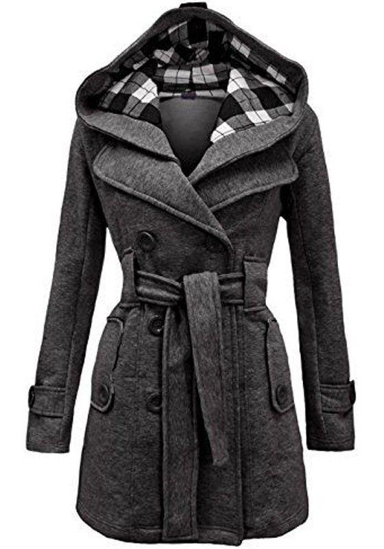 fbfeb2372 Grey Plain Belt Double Breasted Long Sleeve Hooded Fashion Wool Coat ...