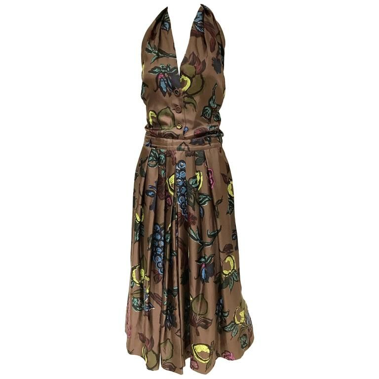 1950s brown silk halter cocktail dress | From a collection of rare vintage casual-dresses at https://www.1stdibs.com/fashion/clothing/day-dresses/casual-dresses/