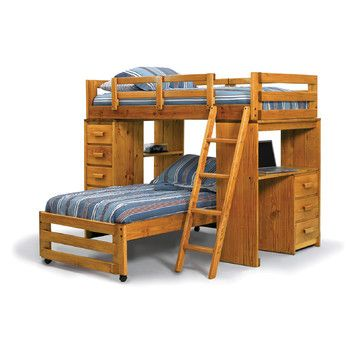 Best Chelsea Home Twin Over Twin L Shaped Bunk Bed With Desk 400 x 300