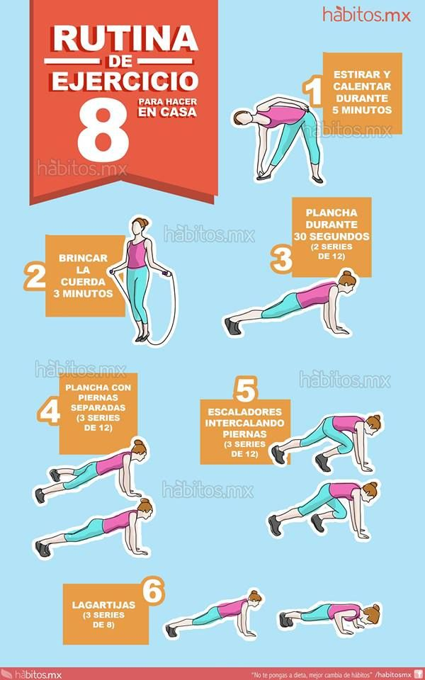 8 rutina de ejercicio para hacer en casa ejercicios pinterest salud ejercicio and yoga - Plan de entrenamiento en casa ...