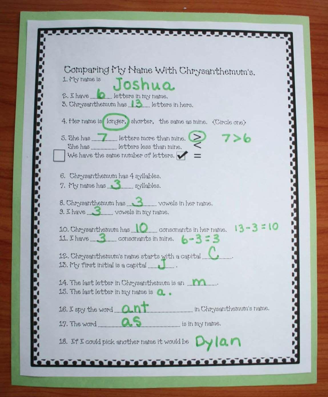 Chrysanthemum Name Activities