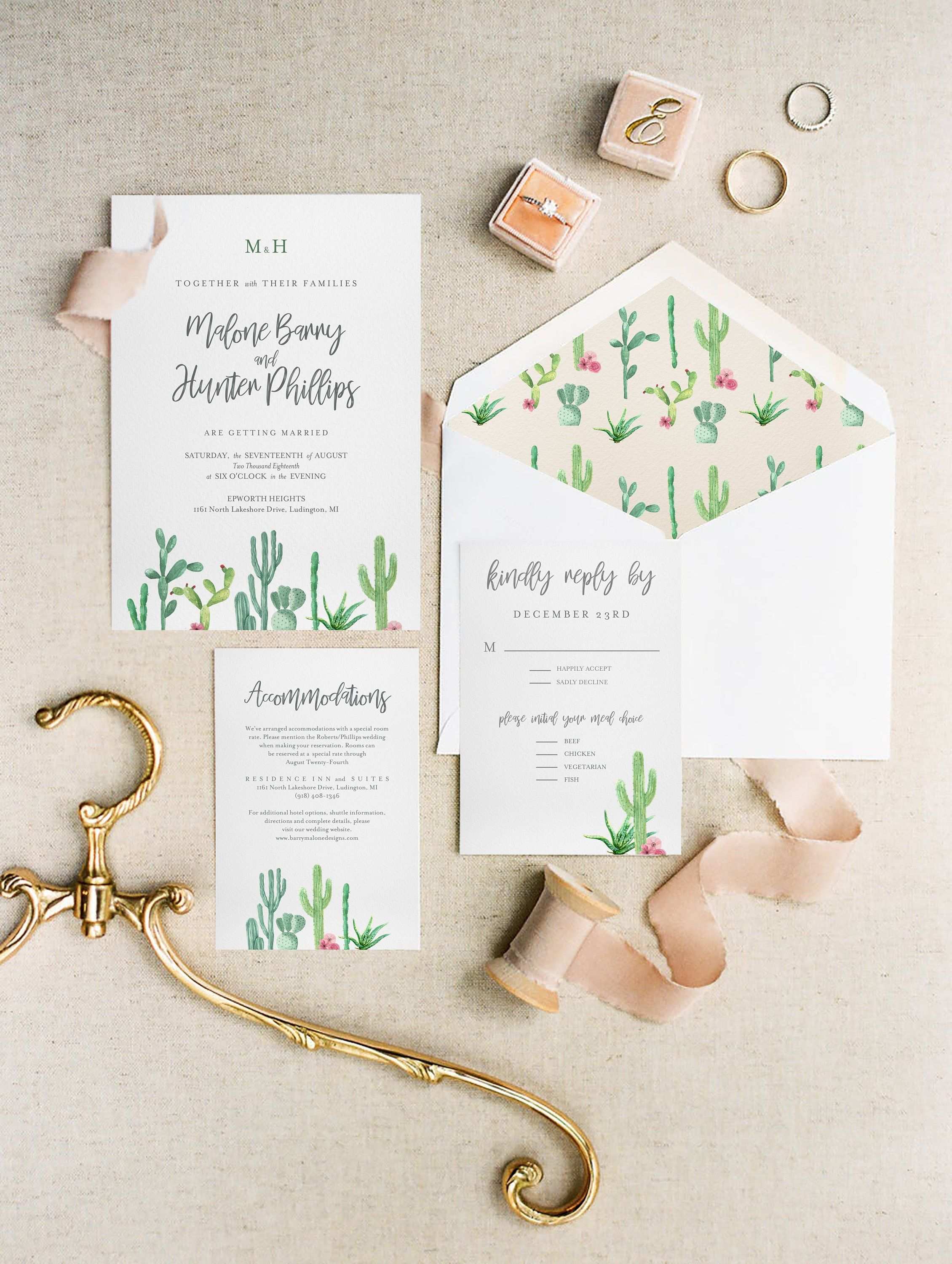 Watercolor Southwest Wedding Invitation Template Wedding