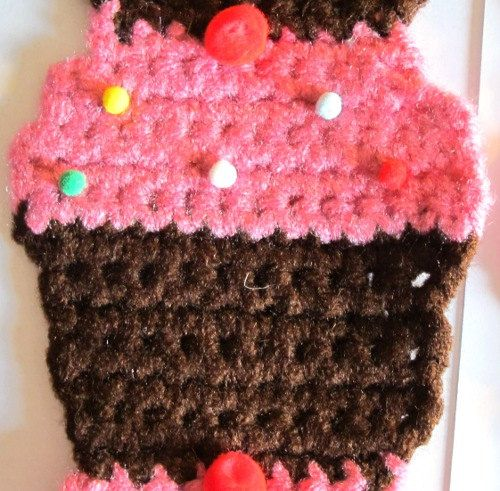 Pink Cupcake Scarf 52 by AMELSEN25 on Etsy, $10.00