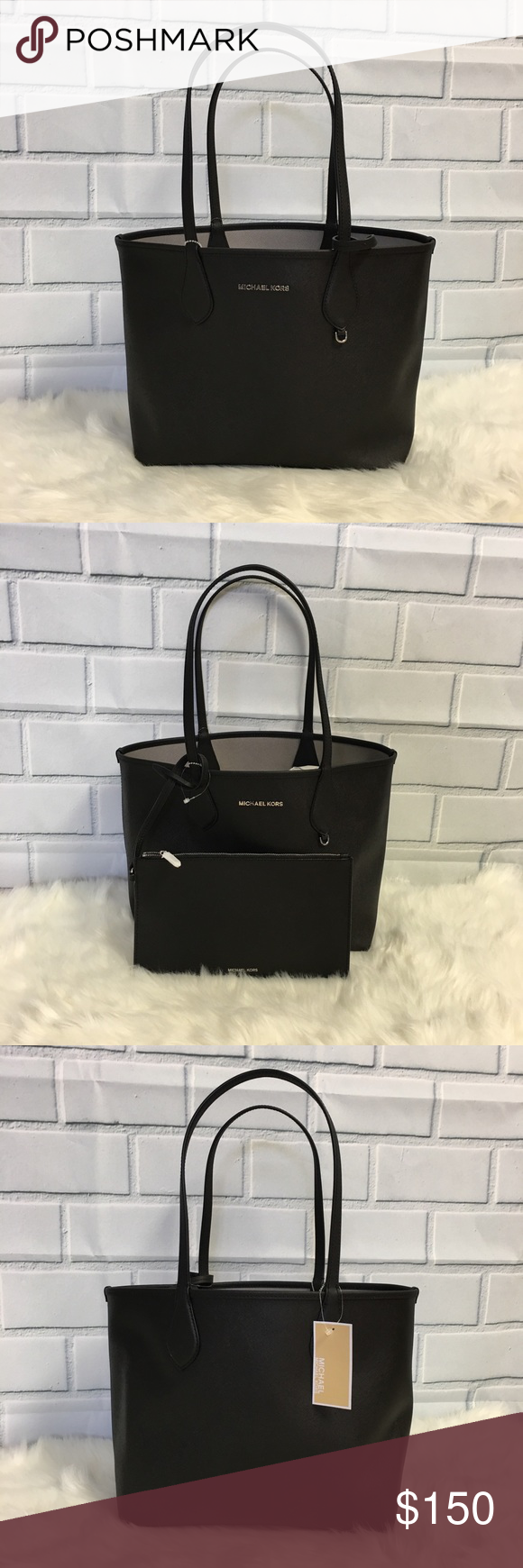 844ce97c3d9dac NWT MICHAEL KORS SAIGE BLACK GREY REVERSIBLE TOTE Brand new with tags  Authentic Safiano Leather Open