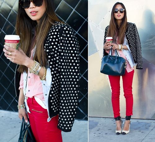 """Zara Studded Suede Jacket, Anarchy Street Spike Bracelets, Levi's Button Down Shirt //    """"STUDDED - Song of Style"""" by Aimee Song // LOOKBOOK.nu"""