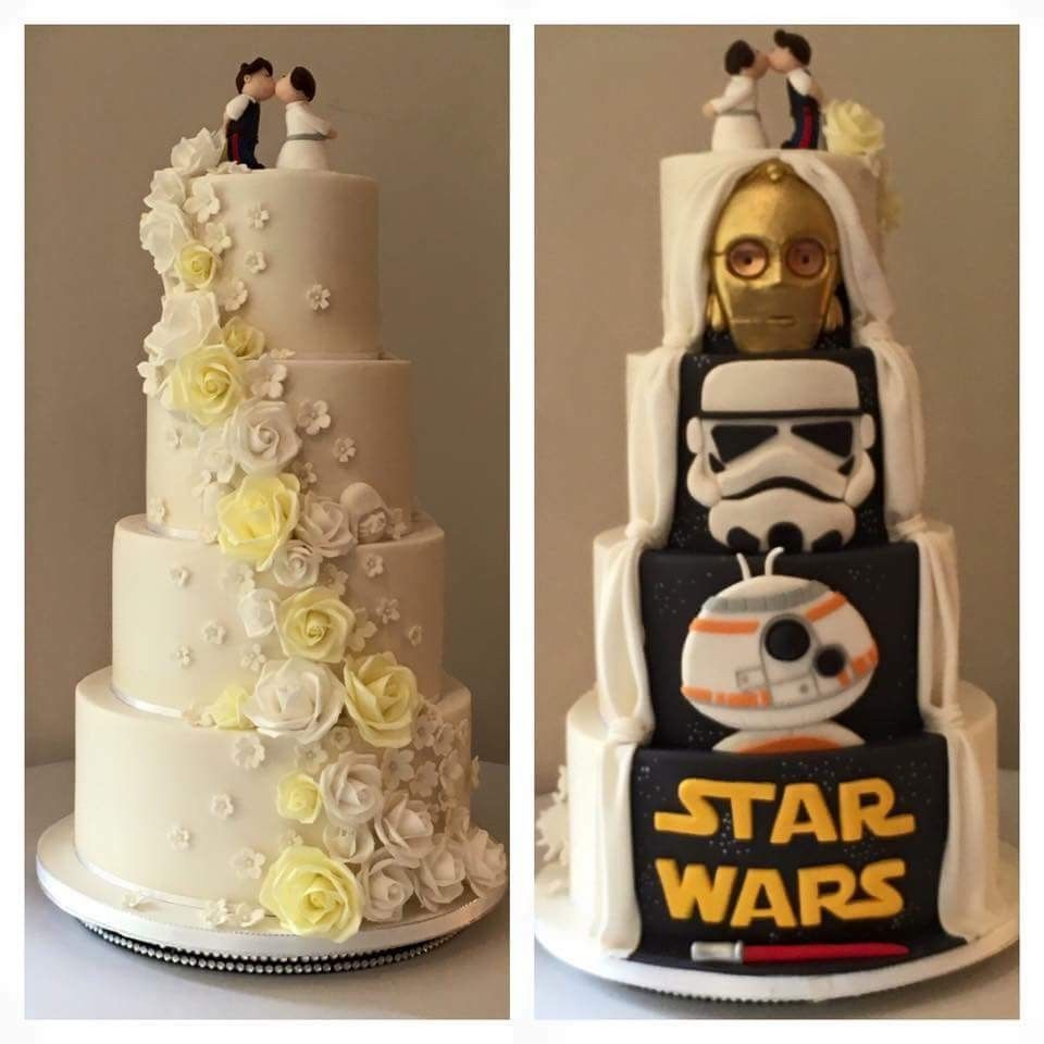 Star Wars Half And Half Star Wars Wedding Cake Cool Wedding Cakes Unique Wedding Cakes