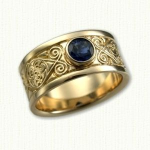 Celtic Triskele Knot Wedding Band Shown with a Bezel Set Sapphire