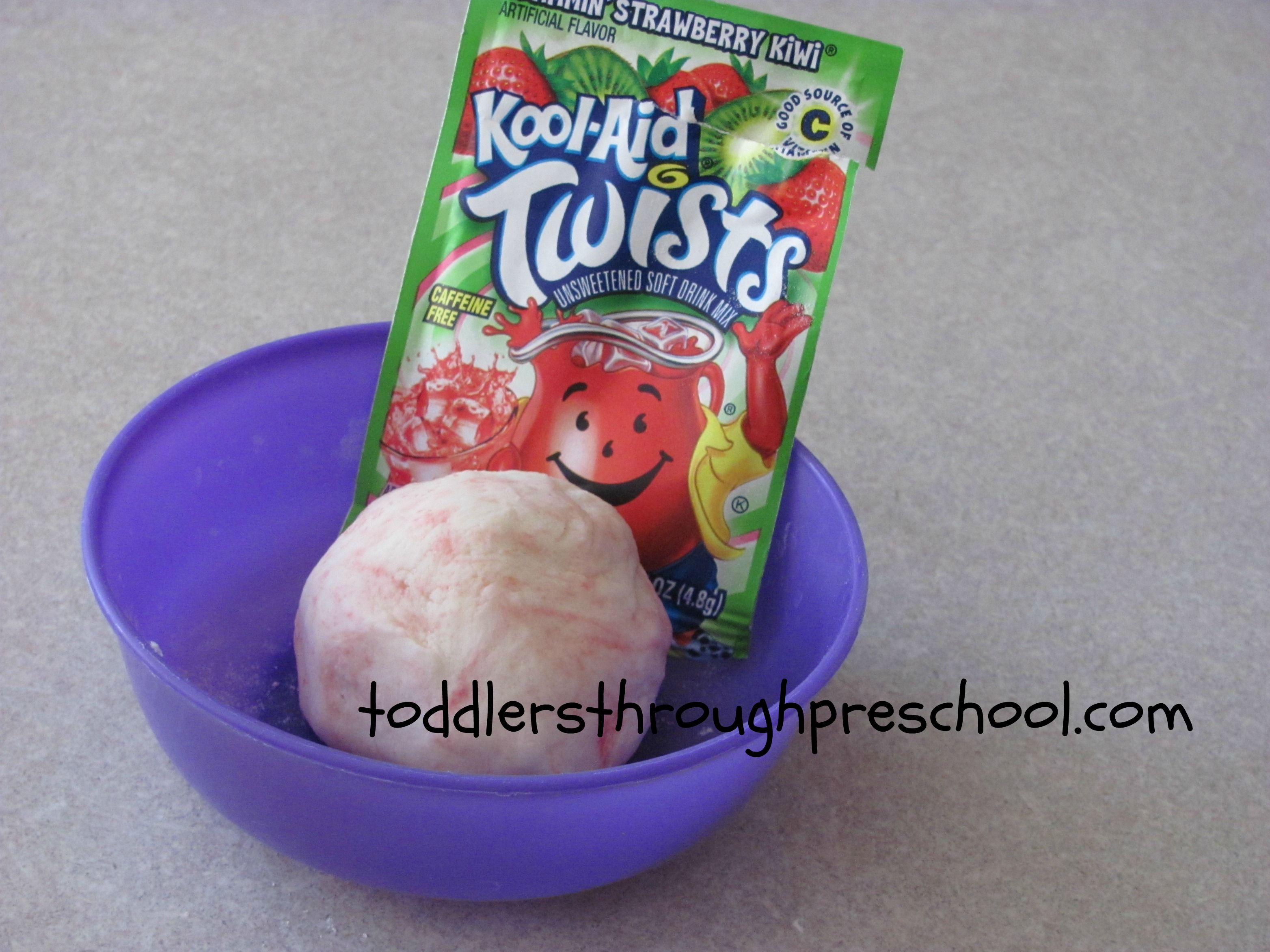 Koolaid playdough recipe. No cooking. Smells yummy and is