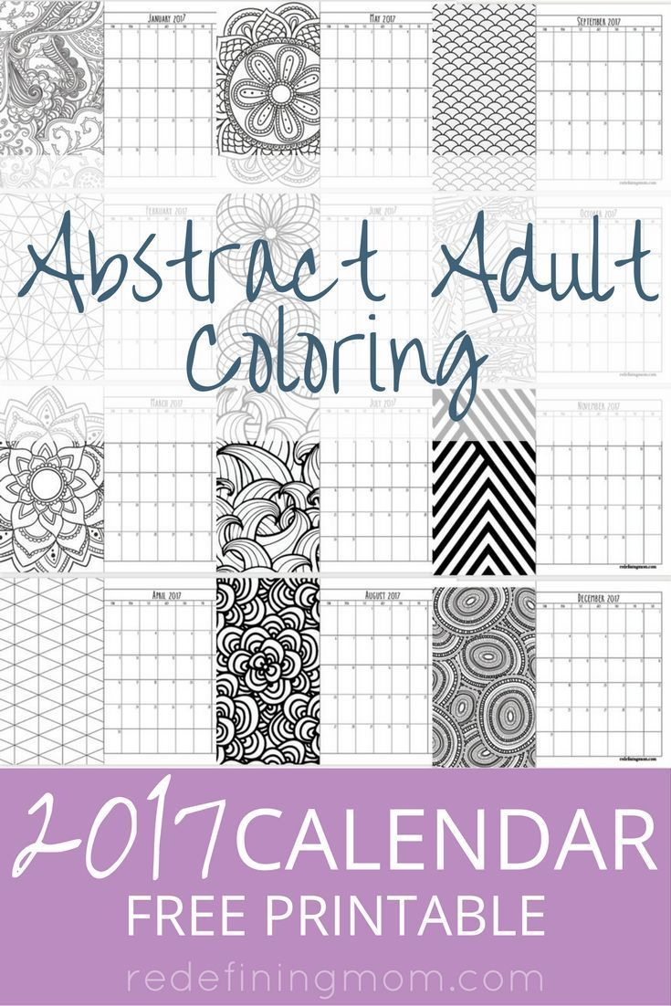 Abstract Adult Coloring 2017 Calendar Free Printable | Adult ...