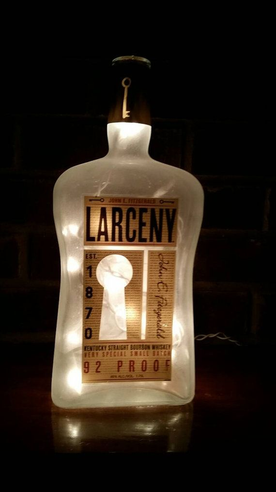 great Larceny Bourbon Kentucky Whisky Lighted Bottle lamp Light bottle lamp with frosted light set inside to illuminate the bottle. measures 12 1/4″ high and 5″ wide visit lightitupcreations.com  Purchase this item on Etsy!