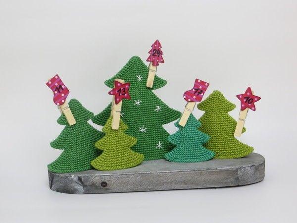 Häkelanleitung, Weihnachtsdeko Tannenbäume in 4 Größen ...