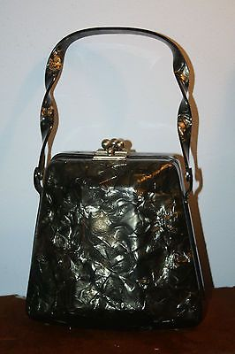 VINTAGE GRAY MARBELIZED WOMANS LUCIET PURSE TWISTED HANDLE