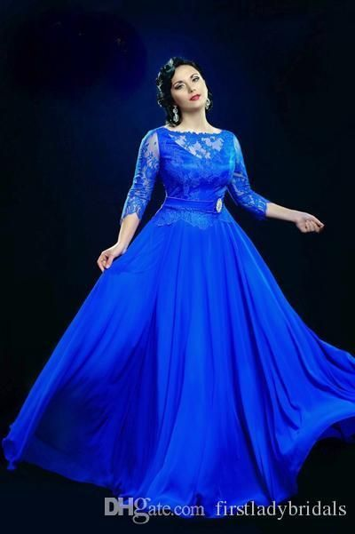 Designer Long Evening Dresses Cheap Formal Royal Blue Sheer ...