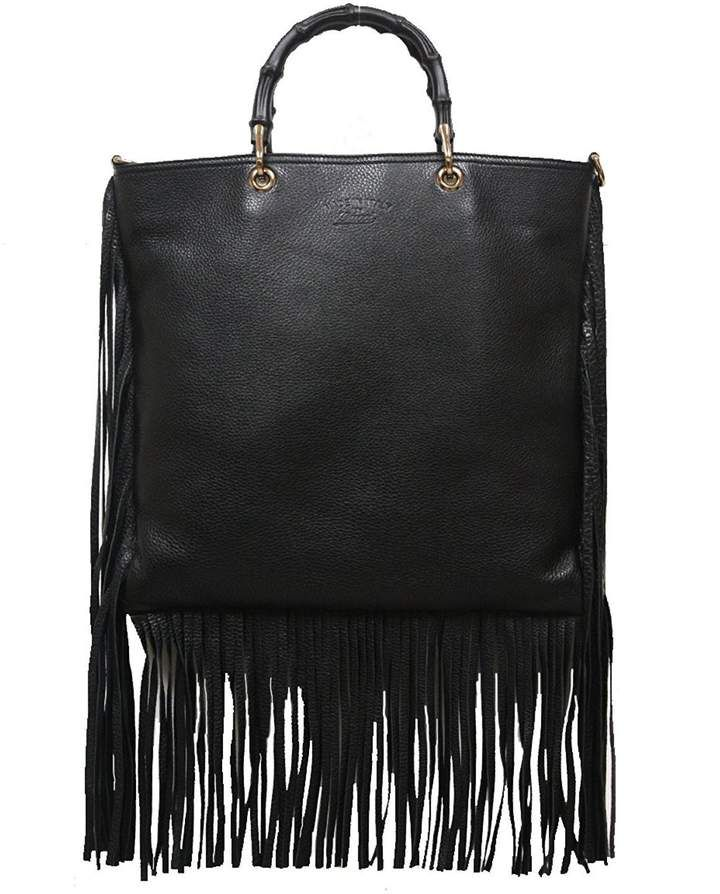 837839b9 Gucci Bamboo Fringe Shopper Tote Tall Black   Products   Gucci ...