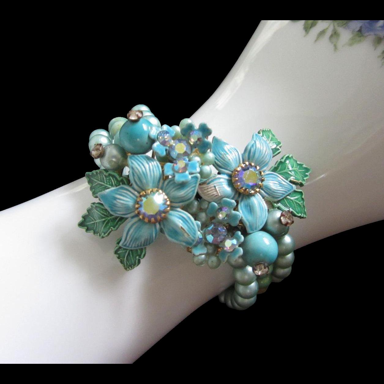 $21 (was $45) - Turquoise Enamel Flowers Memory Wire, Coil Bracelet ...