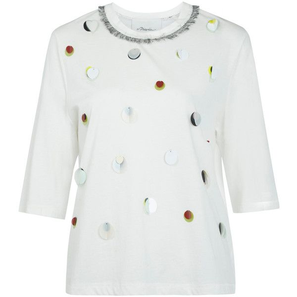3.1 Phillip Lim White Paillette Embellished T-Shirt (4,945 MXN) ❤ liked on Polyvore featuring tops, t-shirts, daisy cleveland, colorful t shirts, fringe t shirt, white t shirt, elbow sleeve tee and raglan t shirt