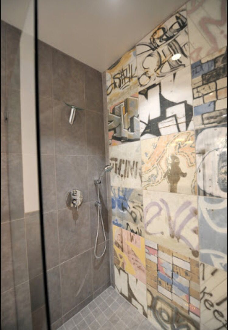Shower Tiles Artistic Tile Eclectic Bathroom Wall Design