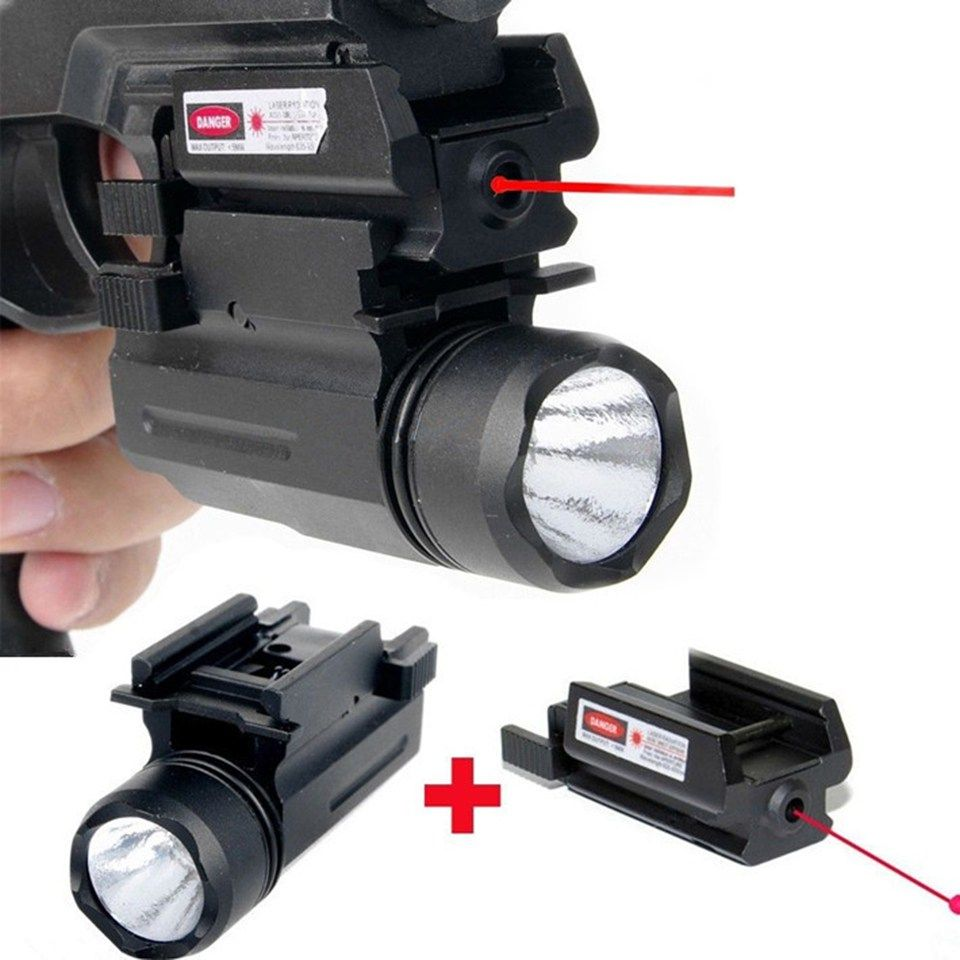 Tactical Rifle Lights with Red Laser Sight Glock Flashlight Combo ...