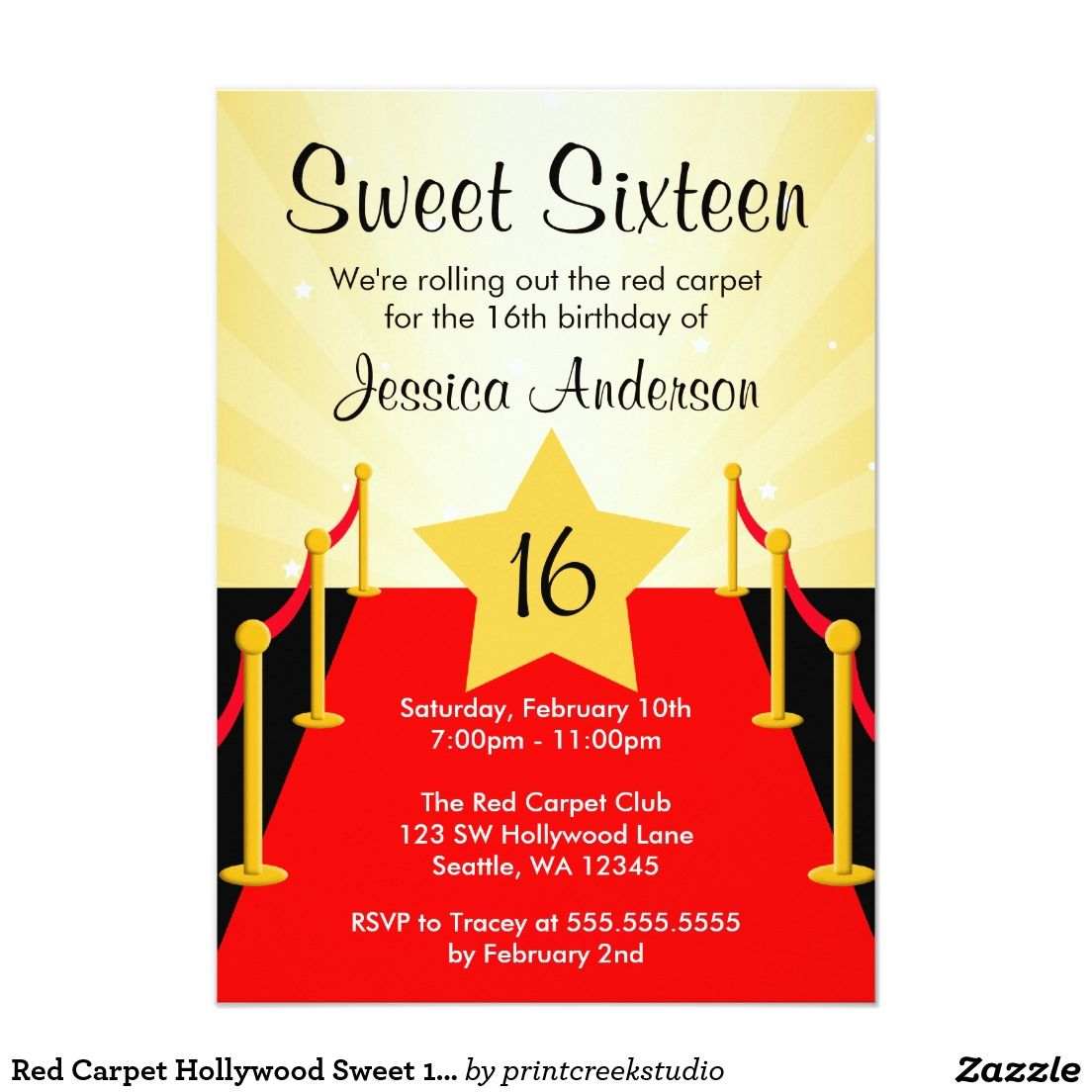 Red Carpet Hollywood Sweet 16 Birthday Party Invitation | Sweet 16 ...