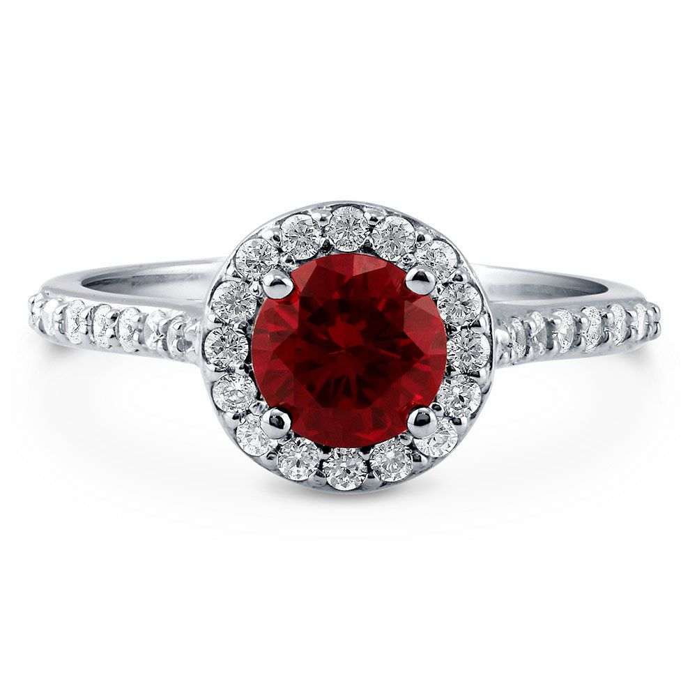 Berricle silver simulated ruby cz halo promise engagement ring