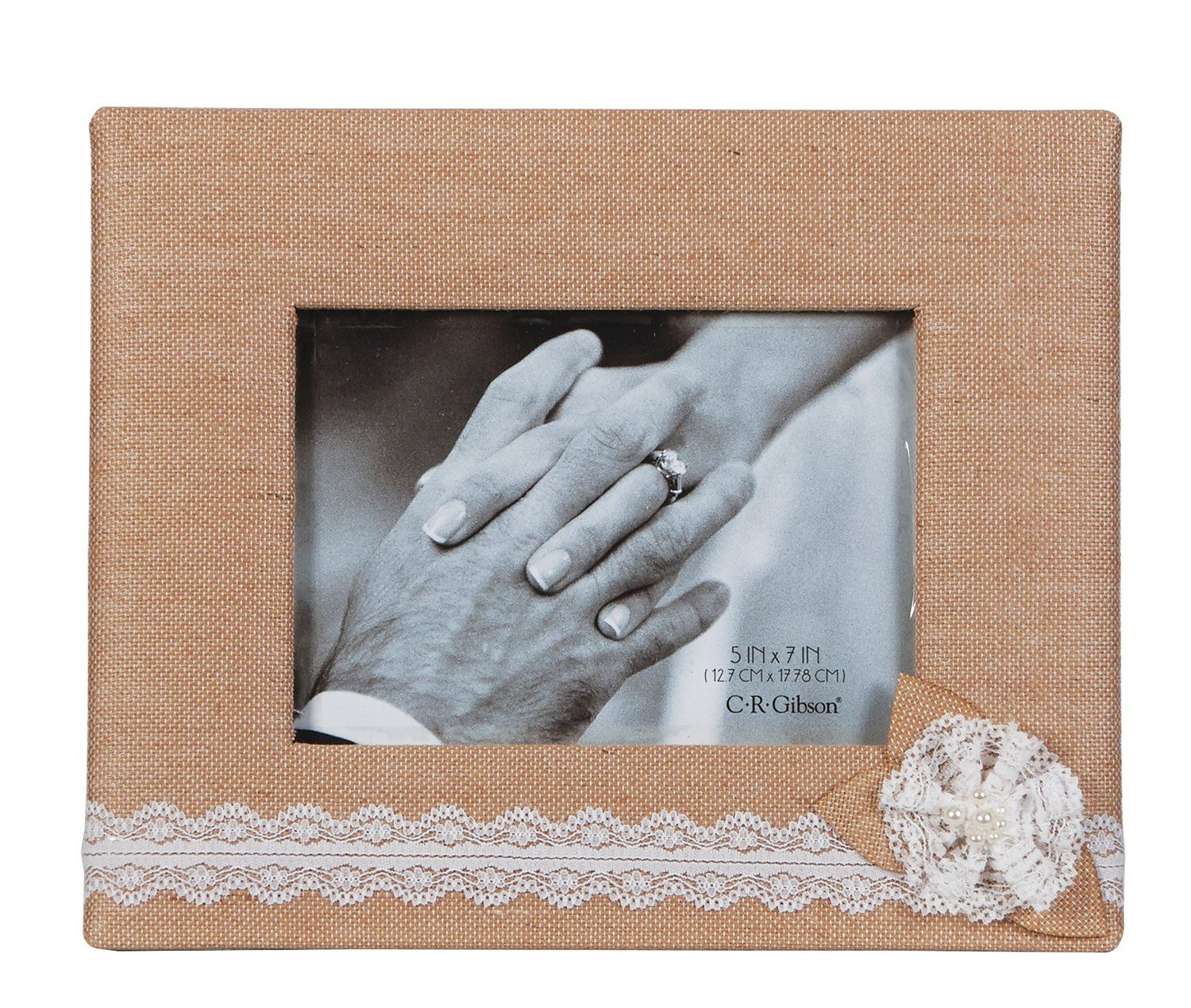 C R Gibson Tabletop Photo Frame 5 By 7 Inch Moments Fabric Covered Photo Frame Holds 5 X 7 Inch Photo 9 X 11 Inch Frame Frame Baby Picture Frames Burlap Fabric
