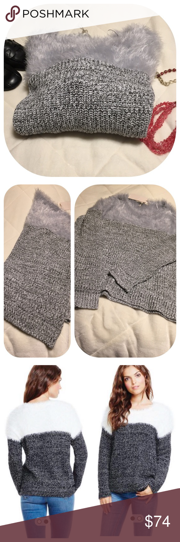 """Two by Vince Camuto Mixed Media Sweater Light gray Eyelash knit on the top, marled white and black rib stitch knit on the bottom. Round neck. Upper body 100% nylon, lower body and sleeves 70% cotton 30% acrylic. Hand wash cold and lay flat to dry. All measurements are approximate laying flat, bust 23"""" length 24"""". Two by Vince Camuto Sweaters Crew & Scoop Necks"""
