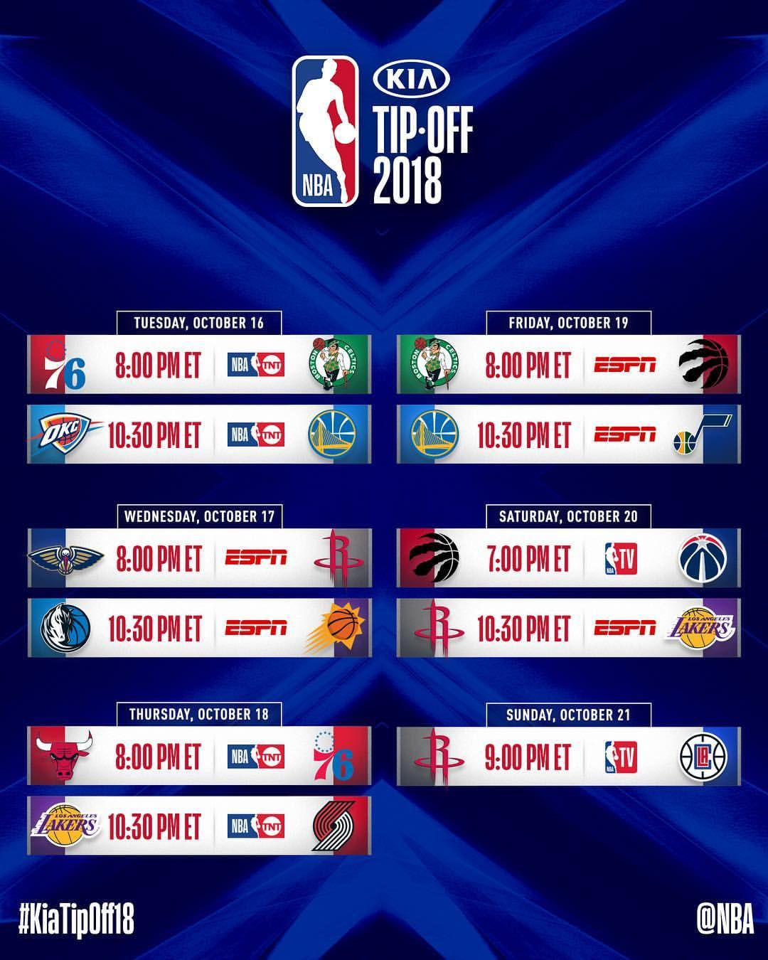 Our KiaTipOff18 schedule!which game are YOU most