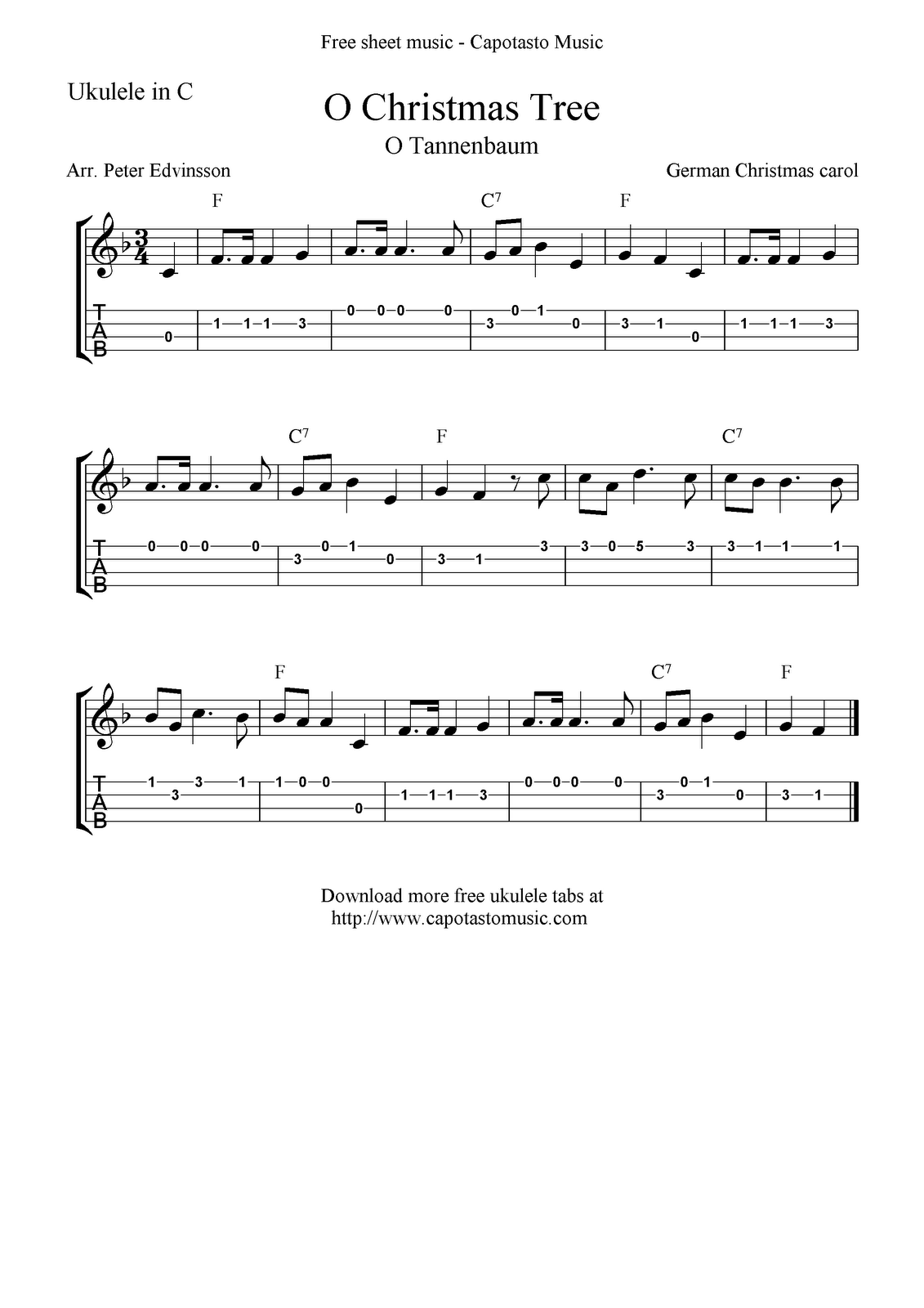 """O Christmas Tree"" (""O Tannenbaum"") Ukulele Sheet Music"