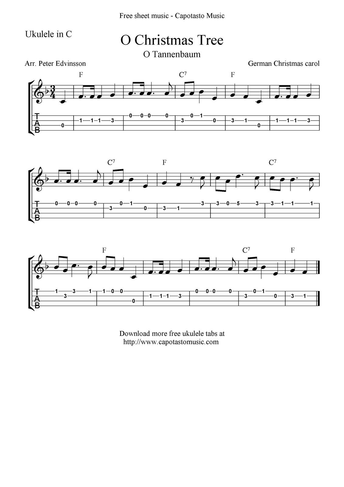O Christmas Tree O Tannenbaum Ukulele Sheet Music