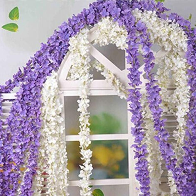 5pcs Purple Silk Wisteria Hanging Vine Garland Flower 2meter Wisteria Vine Wedding Backdrop Hanging Flowers Wedding Hanging Flowers Artificial Silk Flowers