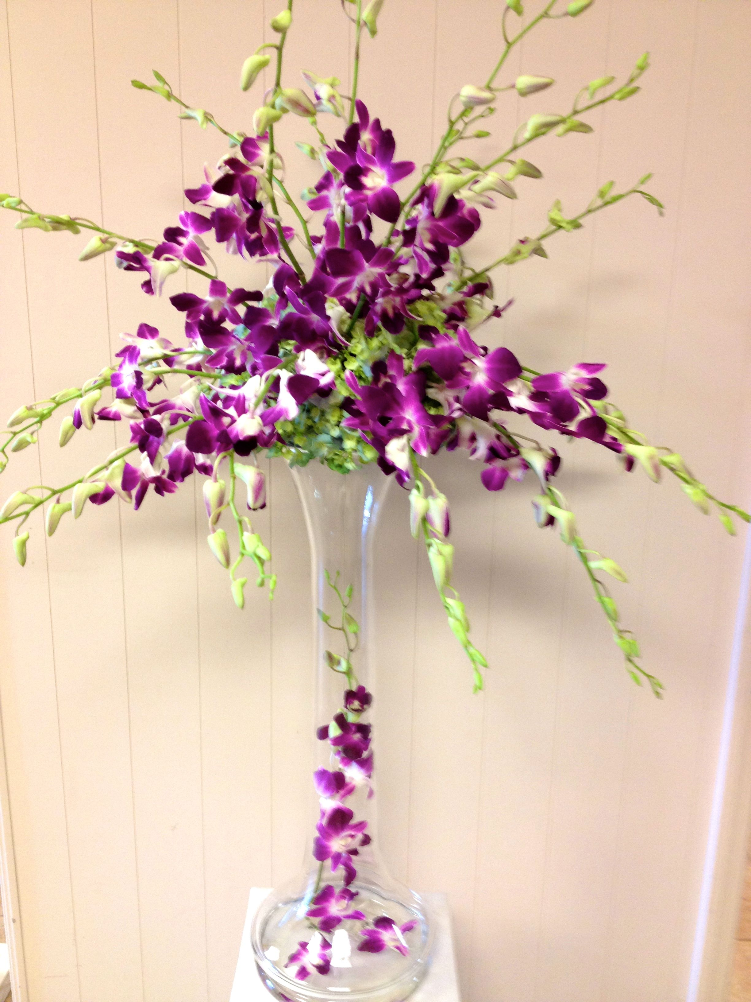 All Orchid Wedding Centerpiece  Purple Dendrobium Orchids  By