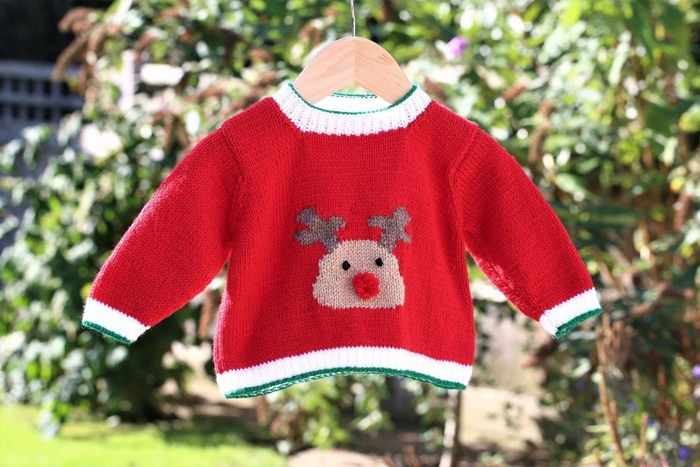5ca16b6fd Red Nosed Reindeer Sweater Knitting pattern by Pizpaw Patterns