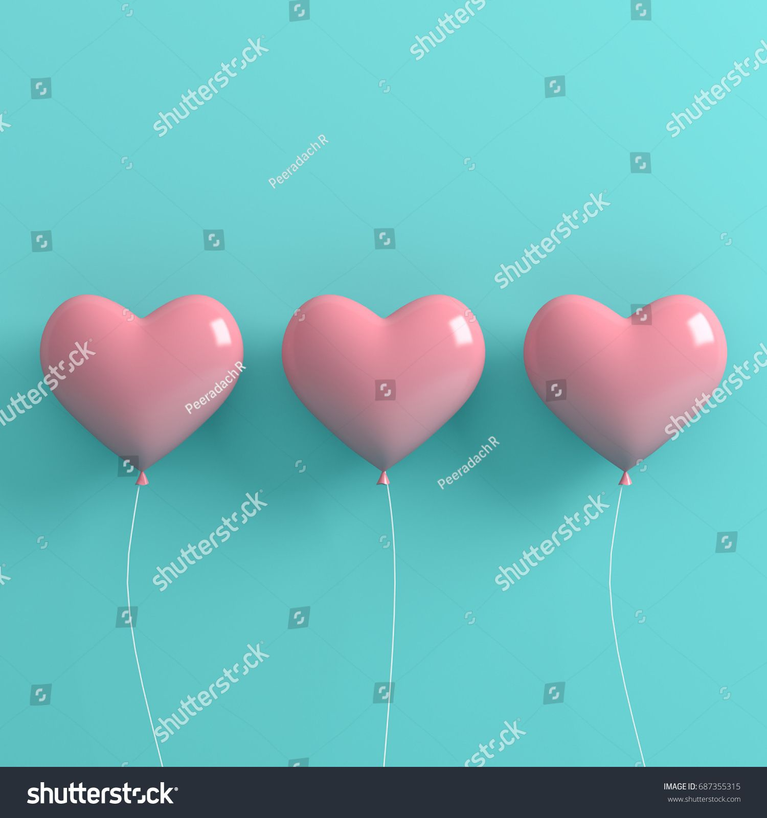 Love Heart Balloon Concept On Pastel Pink And Light Blue Background For Copy Space Minimal