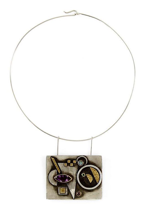 "Necklace | Linda Ladurner. ""Hommage à Kandinsky"". Silver, gold, amethyst, tourmaline"