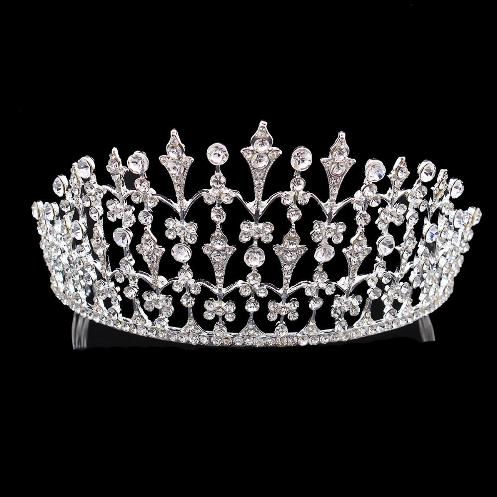 Crystals Tiara Vintage Style Crown Bridal Wedding Hair Jewelry Rhinestones Pageant Prom Party Headpieces HG00017(China (Mainland))