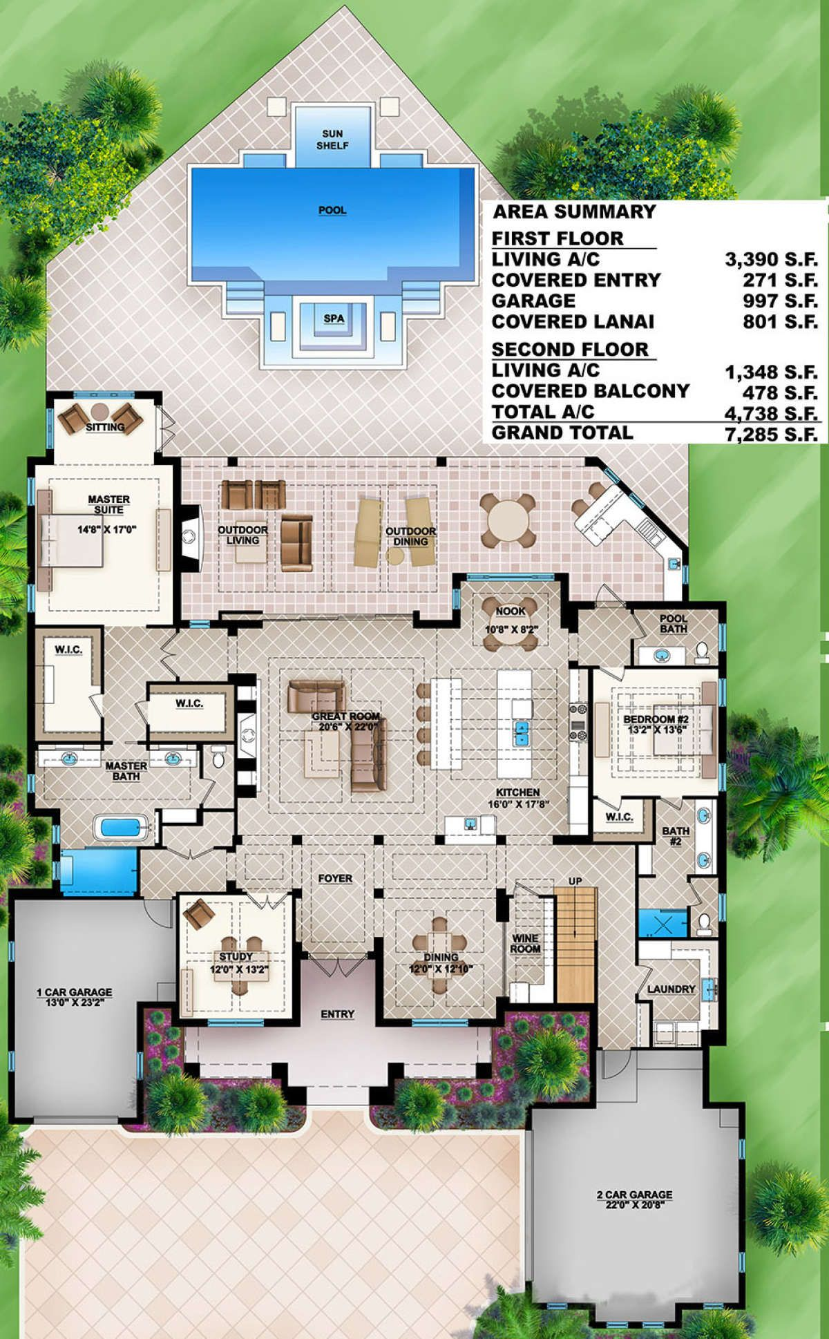 House Plan 207 00008 Coastal Plan 4 738 Square Feet 4 Bedrooms 4 5 Bathrooms In 2020 Farmhouse Style House Plans Pool House Plans House Plans