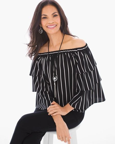 87ce092fdc1163 Just keep bringing the drama. Tiered sleeves turn up the volume on this  striped off-the-shoulder top with an avant-garde appeal. 3 4-sleeves.  Length  24.5