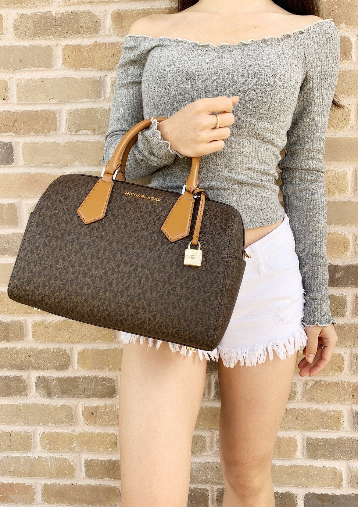 ba1d3ef2fe54 Michael Kors Hayes Large Duffle Satchel Bag Brown MK Signature  MK   ebayfashion  mercariapp  Posher  posh  poshmarkpackages  amazon  Handbags   poshpackages ...