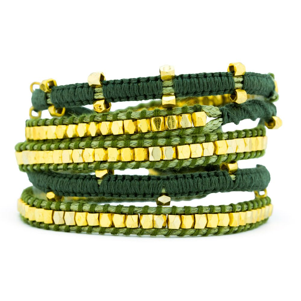 Our Olive Green and Gold Beaded Wrap Bracelet is a beautiful addition to our wrap bracelet collection! This spectacular wrap bracelet is done in lovely macrame thread detailing and has bright gold geometrically styled beads all along the bracelet in different designs. This long wrap bracelet can be worn on all different sized wrists and measures about about 38 inches in length.