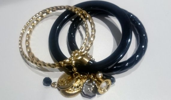 MIMCO JEWELLERY Gold/Black 4 Stack Bangles with by BrownJewels