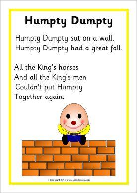 Humpty Dumpty rhyme sheet (SB10738) - SparkleBox | Song Box