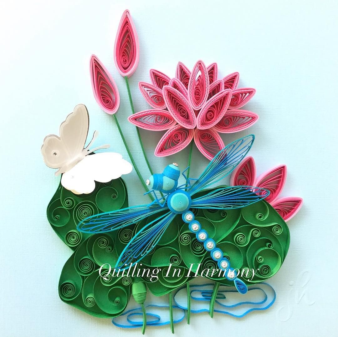Yeah Finished Title Lilypad Friends 9 X 9 22cmx22cm Quilling Hand Crafted Paper Artwo Quilling Designs Paper Quilling Flowers Quilling Paper Craft