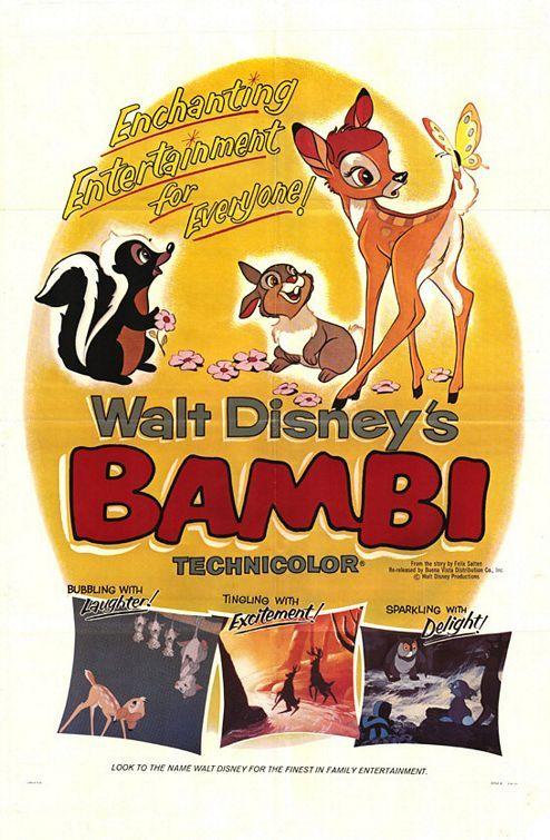 Bambi 1942 Walt Disney Animated Movies Vintage Disney Posters Disney Movie Posters