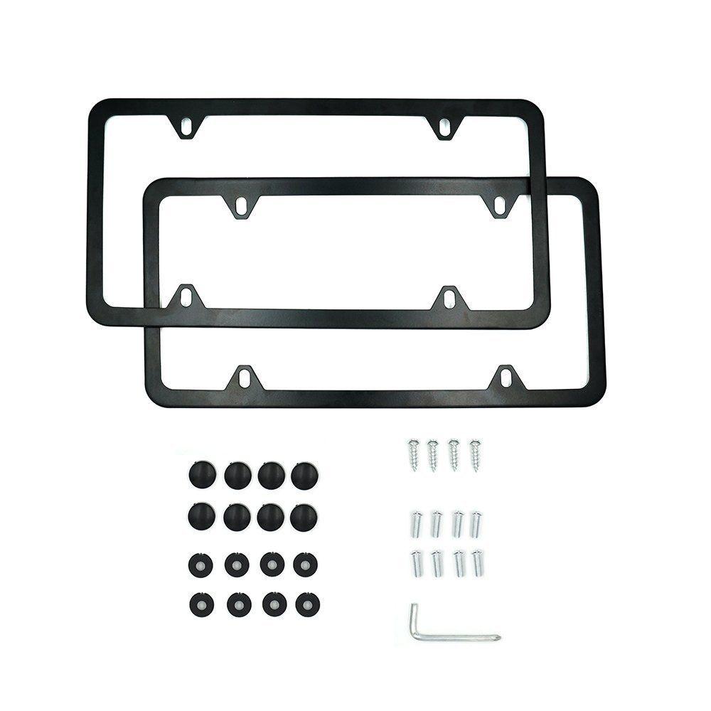 Indeedbuy 2017 Newest 2 Pcs 4 Holes Stainless Steel Black License ...