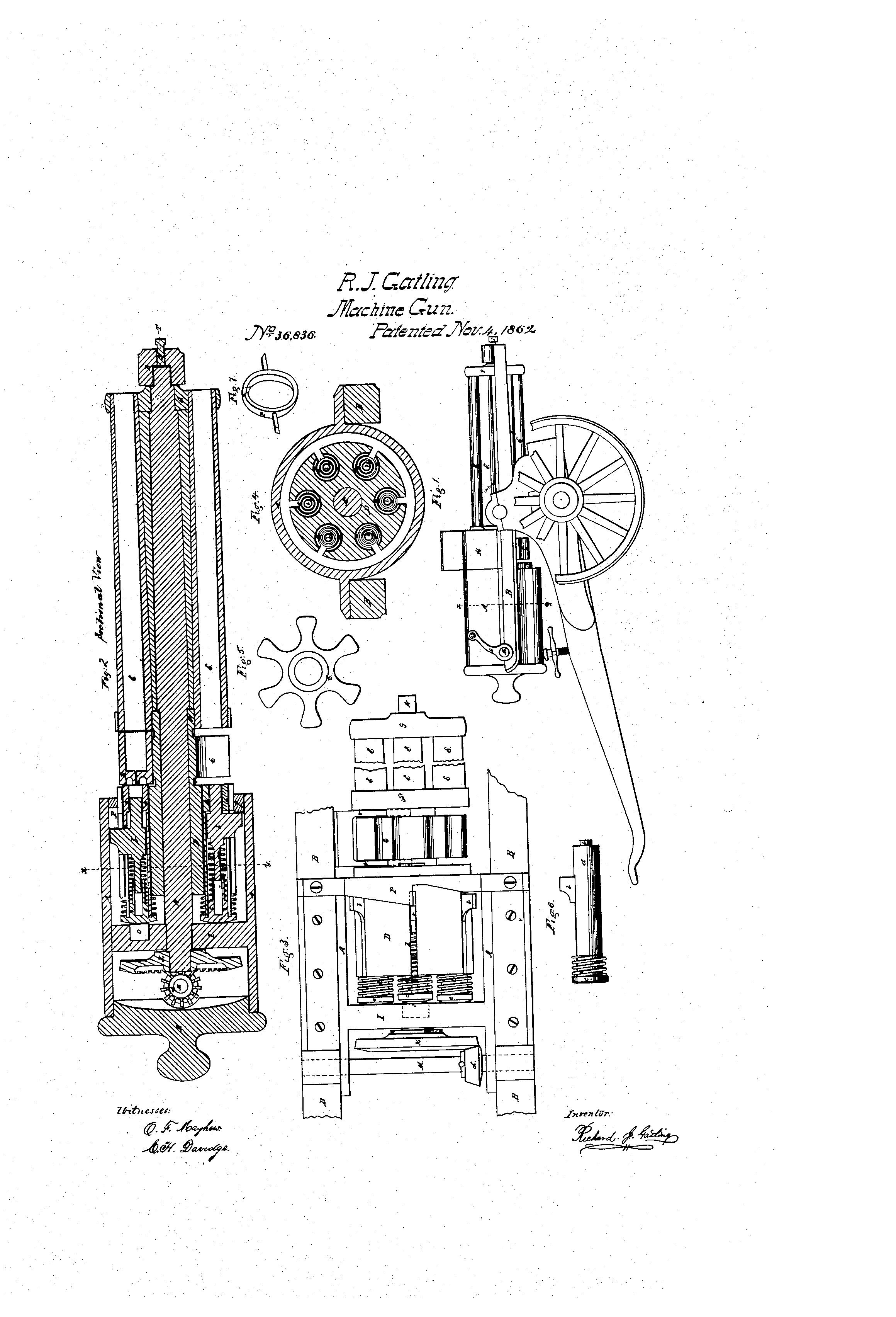 Improvement In Revolving Battery Guns R J Gatling Patent Us